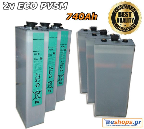 2V Μπαταρία Βαθιάς Εκφόρτισης ECOPVSM 740, Aνοικτού τύπου
